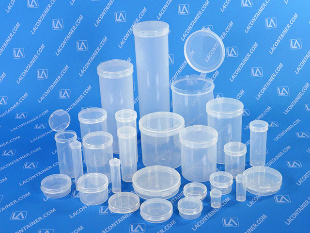 LACons Round Hinged Lid Plastic Containers Made In USA